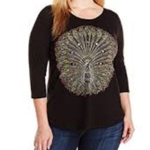 Lucky Brand Embroidered Peacock T shirt